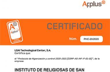 Certificado en el Protocolo de Higienización y Control de Applus+, concedido al Instituto de Religiosas de San José de Gerona