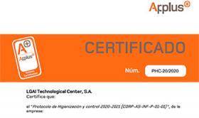 Certificat en el Protocol d'Higienització i Control de Applus+, concedit a l'Institut de Religioses de Sant Josep de Girona